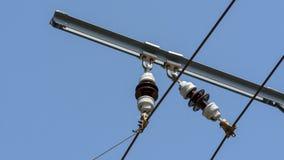关闭电车力量基础设施B 免版税库存照片
