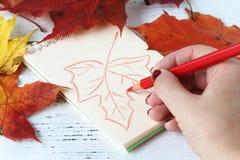 关闭画秋天叶子的手盖用秋天le 免版税库存照片