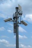 关闭白色安全监控相机 免版税图库摄影