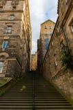 关闭的台阶在老镇爱丁堡,苏格兰,英国 免版税库存图片