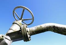 关闭的和打开的气体管道的阀门 免版税库存照片