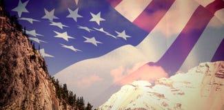 关闭的综合图象我们旗子 免版税库存图片