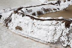 关闭盐池塘位于Maras,秘鲁` s神圣的谷 库存图片
