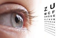 关闭眼睛和视觉测试 免版税库存图片