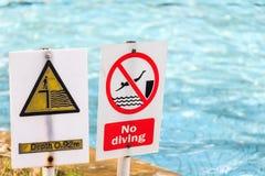 关闭签到swimmimg水池 免版税库存图片