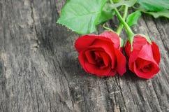 关闭红色在木背景的玫瑰花 库存图片