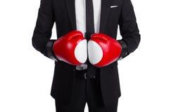 关闭红色拳击手套 免版税图库摄影
