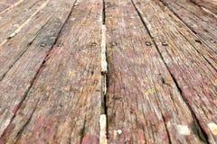 关闭老木地板背景 免版税库存图片
