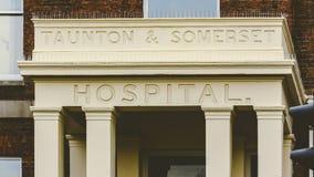 关闭老汤顿和萨默塞特医院门廊  免版税库存照片