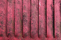 关闭老红色生锈的金属挡水板 免版税图库摄影