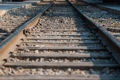 关闭老铁路轨道 免版税图库摄影