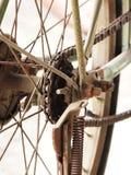 关闭老,肮脏和生锈的自行车链子照片与扣练齿轮的在后轮 免版税库存照片