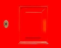 关闭背景的框架红色门 免版税库存图片