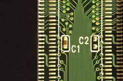 关闭色的微电路板 抽象背景技术 详细计算机机制 库存照片