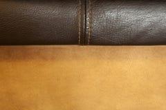 关闭被缝合的皮革和绒面革织品 免版税图库摄影
