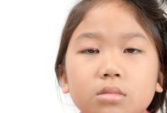 关闭被隔绝的亚洲女孩一眼感染 免版税库存照片