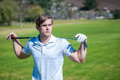 关闭观点的一位男性高尔夫球运动员 库存照片