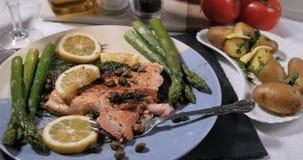 关闭观点的一条烤有机三文鱼用雀跃和莳萝 免版税库存照片