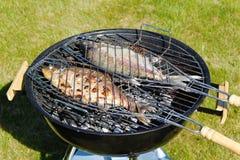 关闭观点的在格栅的两条大淡水鱼 背景许多饺子的食物非常肉 室外背景 免版税库存图片