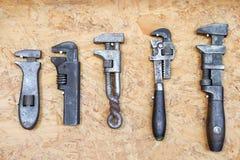 关闭许多不同的老工具 库存照片