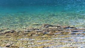 关闭起波纹在海滩的海水的运动 股票视频