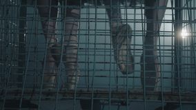 关闭跳芭蕾舞者的优美的脚在黑暗的与光和烟在背景 亭亭玉立的腿年轻 股票录像