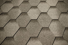 关闭铺磁砖的屋顶的片段 选择聚焦 定调子 免版税库存照片