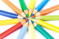 关闭颜色铅笔 免版税库存图片