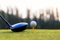 关闭高尔夫球和司机,做高尔夫球摇摆发球区域在绿色日落晚上时间的球员, 免版税库存照片