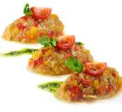 关闭鱼子酱由茄子和蕃茄制成。 图库摄影