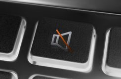 关闭黑色的一个黑容量喑哑按钮遥控与背后照明 库存图片