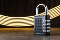 关闭,保护的概念 技术blockchain,网络通行的加密 密码保护 免版税库存图片