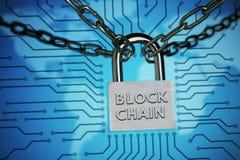关闭,保护的概念 技术blockchain,网络通行的加密 免版税库存图片
