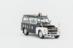 关闭经典葡萄酒警车,比例模型 免版税图库摄影