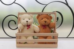 关闭-结合在木篮子的玩具熊 图库摄影
