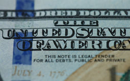 关闭100在美国货币的美金 免版税库存图片