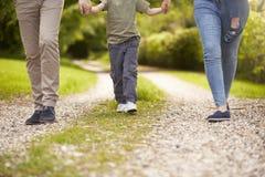 关闭去散步的家庭在夏天乡下 免版税库存图片