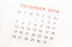 关闭2016年12月日历  免版税库存图片