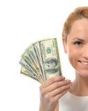 关闭阻止现金金钱美元货币的妇女画象 图库摄影