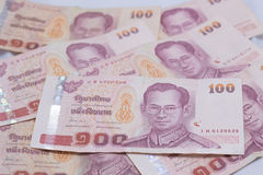 关闭100泰铢泰国钞票 库存照片