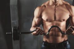 关闭年轻肌肉人举的重量 免版税库存照片