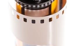 关闭35mm影片和罐 免版税库存照片