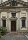 关闭Biblioteca Ambrosiana大厦在米兰 库存照片