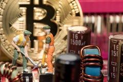 关闭Bitcoin在图形卡的金钱采矿,我们看mainboard的技术 库存照片