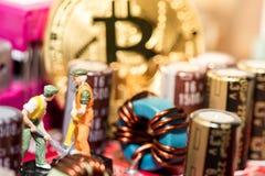 关闭Bitcoin在图形卡的金钱采矿,我们看mainboard的技术 库存图片