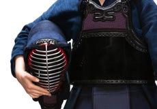 关闭kendo人在kendoka的手上 免版税库存图片
