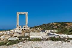 关闭Portara看法,阿波罗寺庙入口,纳克索斯岛,希腊 免版税库存图片