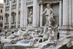 关闭Trevi喷泉雕塑,罗马,意大利 库存照片