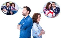 关系或离婚概念-哀伤的年轻夫妇d画象  免版税库存照片