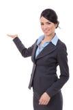 兴奋女商人存在 免版税库存照片